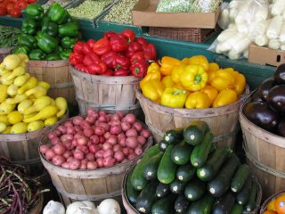 Colorful vegetables at an outdoor market